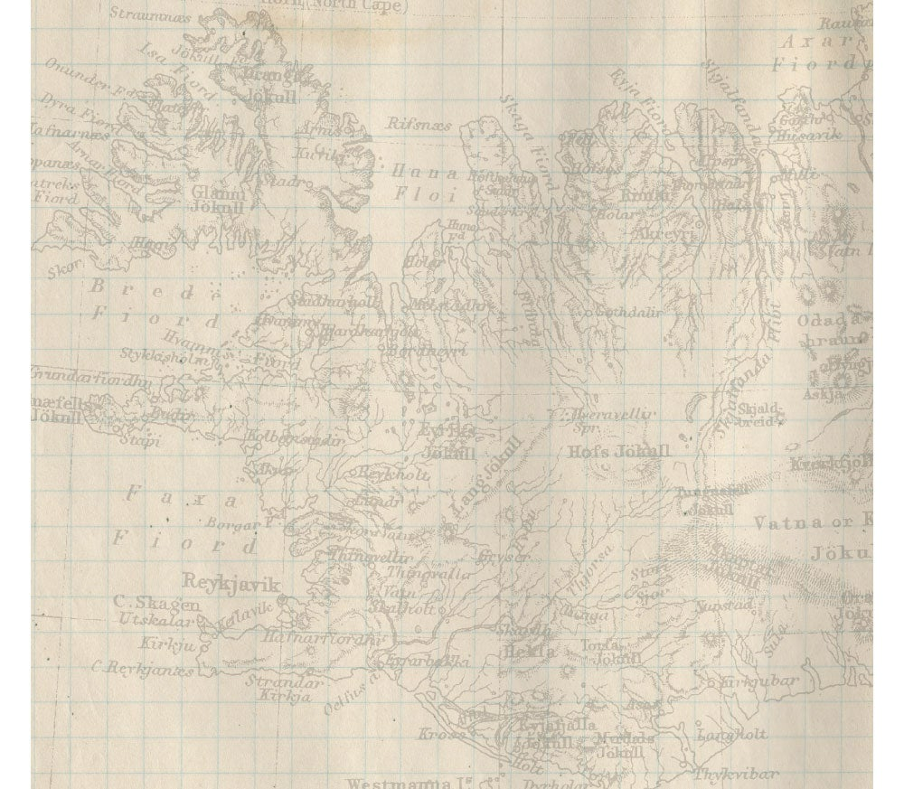 old map over Iceland